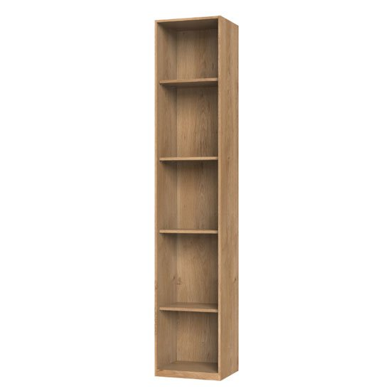New York Tall Wooden Shelving Unit In Planked Oak