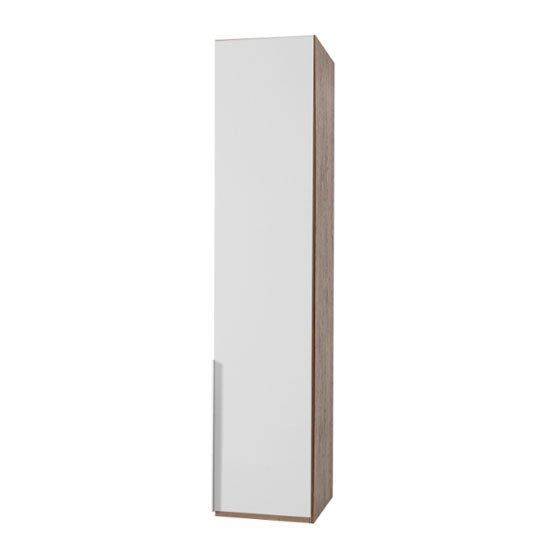 Product photograph showing New York Tall Wooden Wardrobe In White And Oak 1 Door