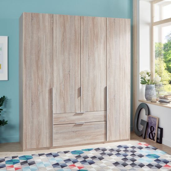 Product photograph showing New York Wooden 4 Doors Wardrobe In Oak