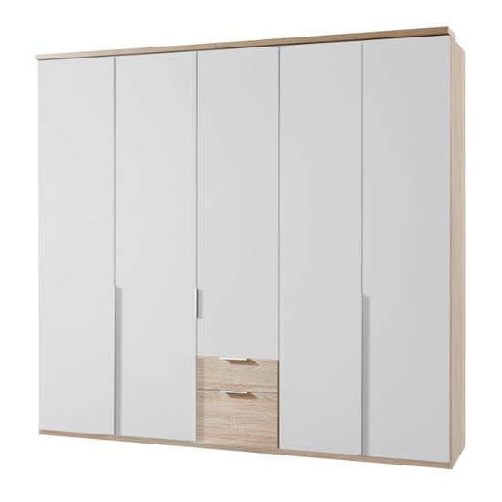 New York Wooden 5 Doors Wardrobe In White And Oak