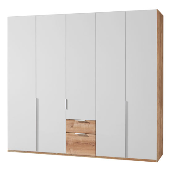 New York Wooden 5 Doors Wardrobe In White And Planked Oak