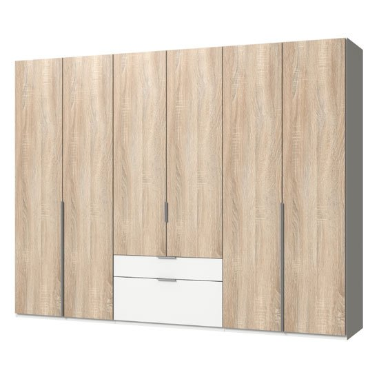 New York Wooden 6 Doors Wardrobe In Oak And White