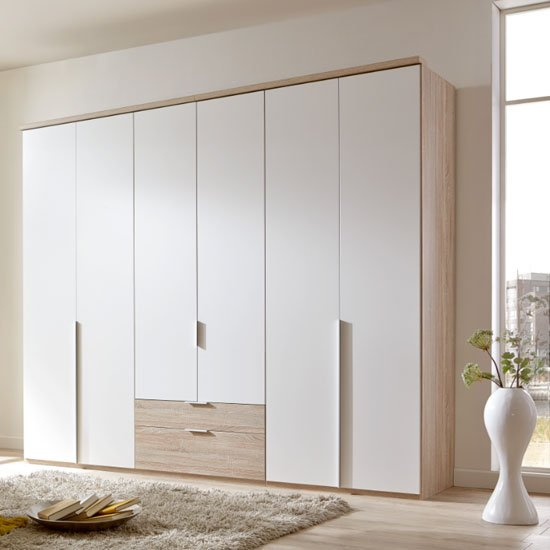 New York Wooden 6 Doors Wardrobe In White And Oak