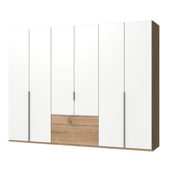 New York Wooden 6 Doors Wardrobe In White And Planked Oak