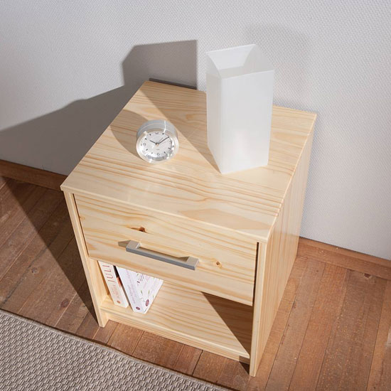 New York Wooden Bedside Cabinet In Natural Oak With 1 Drawer_2