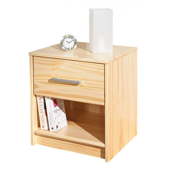New York Wooden Bedside Cabinet In Natural Oak With 1 Drawer_3