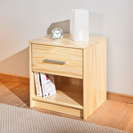 New York Wooden Bedside Cabinet In Natural Oak With 1 Drawer