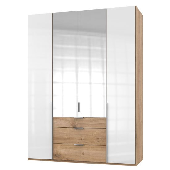 New Zork Tall 4 Doors Wardrobe In Gloss White And Planked Oak