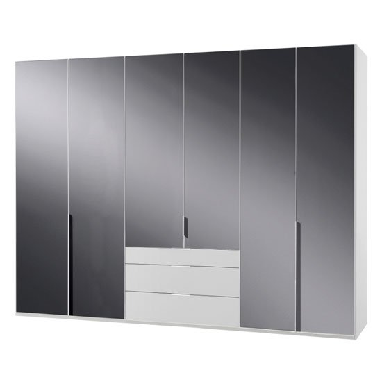New Zork Tall 6 Doors Wardrobe In Gloss Grey And White_1