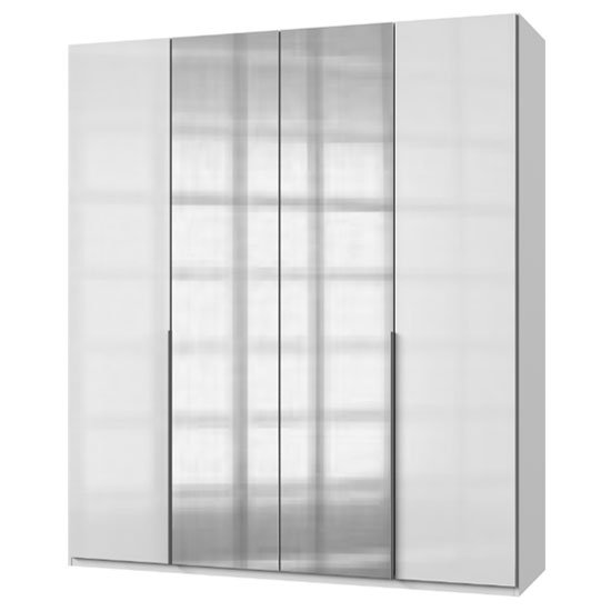 New Zork Tall Mirrored Wardrobe In Gloss White 4 Doors