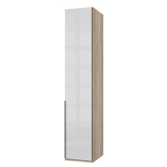 New Zork Tall Wardrobe In Gloss White And Oak 1 Door