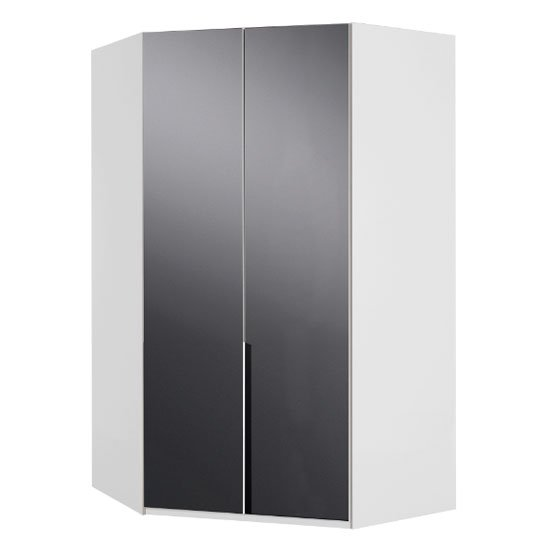 New Zork Tall Wooden Corner Wardrobe In Gloss Grey And White