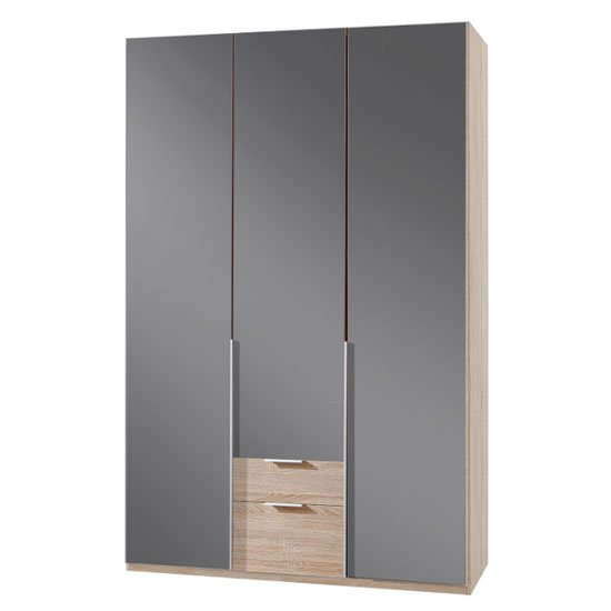 New Zork Wooden 3 Doors Wardrobe In Gloss Grey And Oak