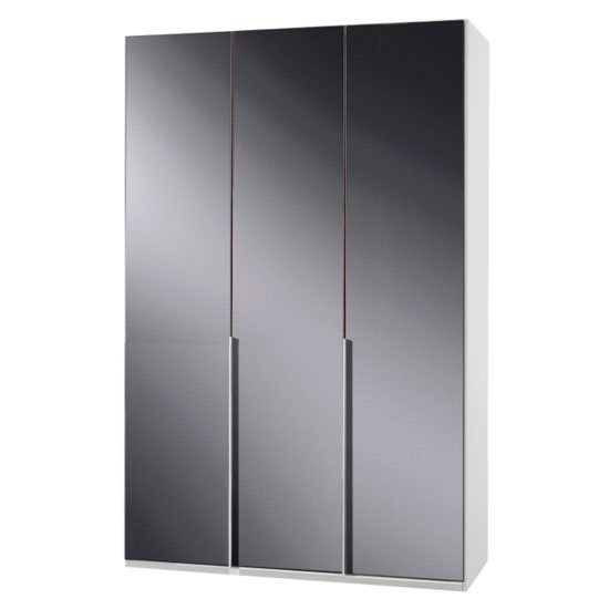 New Zork Wooden Wardrobe In Gloss Grey And White 3 Doors