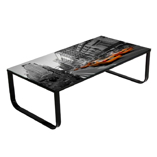 New York Taxi Glass Coffee Table With Print 19709 Furniture