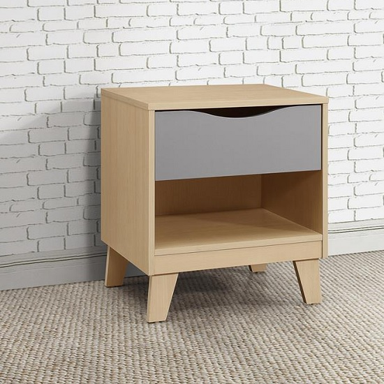 Product photograph showing Norell Bedside Cabinet In Beech And Grey With 1 Drawer