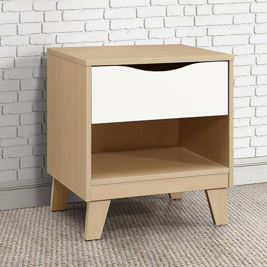 Product photograph showing Norell Bedside Cabinet In Beech And White With 1 Drawer