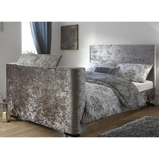 Newark Crushed Velvet Double Electric TV Bed In Silver_2