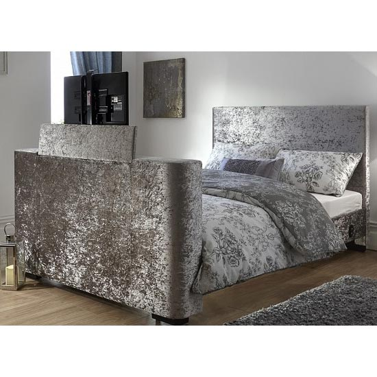 Newark Crushed Velvet Double Electric TV Bed In Silver_3
