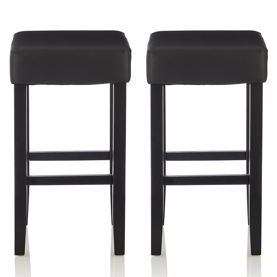 Newark Bar Stools In Black Faux Leather In A Pair