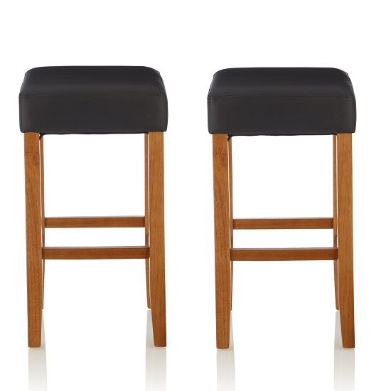 Newark Bar Stools In Black PU And Oak Legs In A Pair