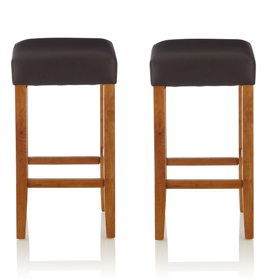 Newark Bar Stools In Brown PU And Oak Legs In A Pair
