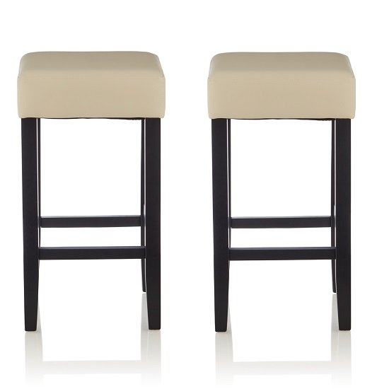 Newark Bar Stools In Cream PU And Black Legs In A Pair