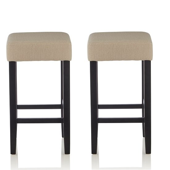 Newark Bar Stools In Mink Fabric And Black Legs In A Pair