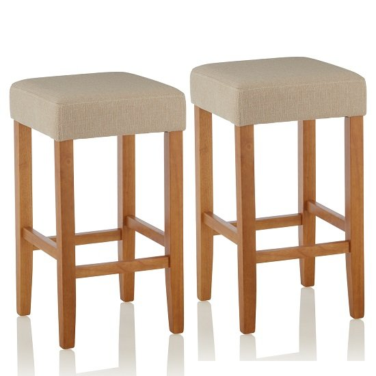 Newark Bar Stools In Mink Fabric And Oak Legs In A Pair