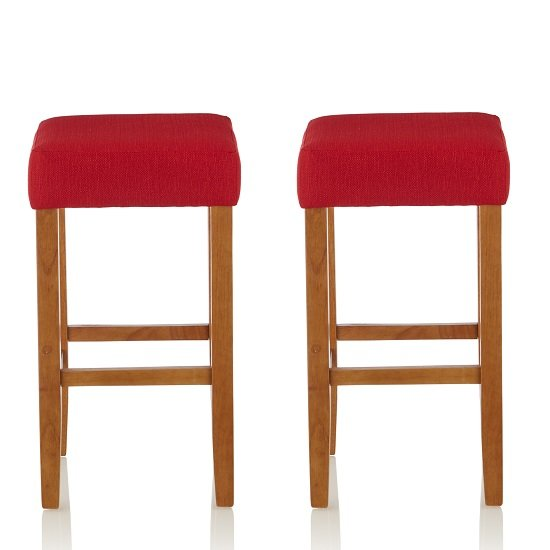Newark Bar Stools In Red Fabric And Oak Legs In A Pair