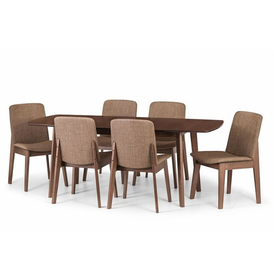 Newbury Wooden Extending Dining Table In Walnut With 6 Chairs_2