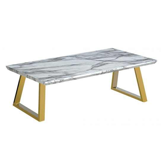 Newchapel Marble Effect Wooden Coffee Table With Gold Metal Legs