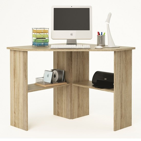 Newham Wooden Corner Computer Desk In Brushed Oak 28445