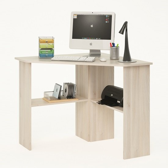 Photo of Newham wooden corner computer desk in acacia with 2 shelf