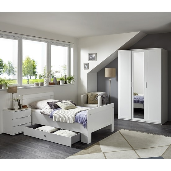 Newport Bedside Cabinet In Alpine White With 3 Drawers_2