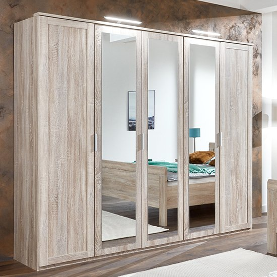 Newport Mirrored Wooden Wardrobe In Oak With 3 Mirrors