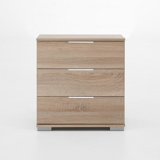 Newport Wooden Bedside Cabinet In Oak Effect With 3 Drawers