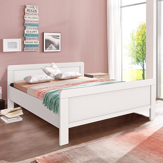 Newport Wooden Double Bed In White_1