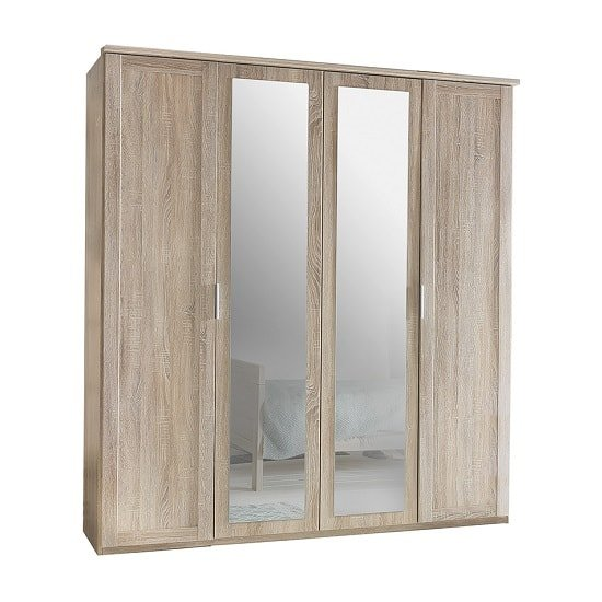 Newport Wooden Mirrored Wardrobe Large In Oak Effect