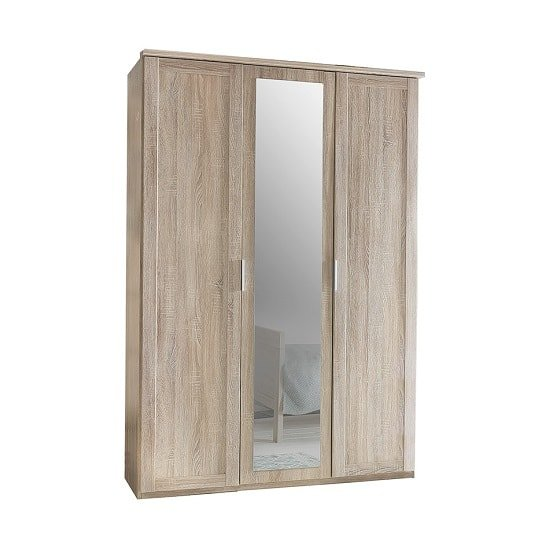 Newport Wooden Mirror Wardrobe In Oak Effect With 3 Doors