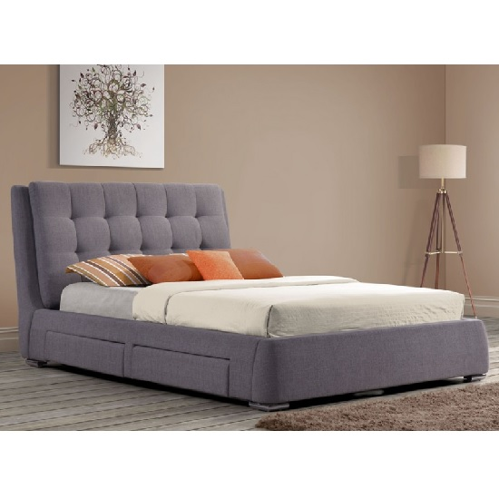 Newport Modern Fabric Bed In Grey With 4 Drawers