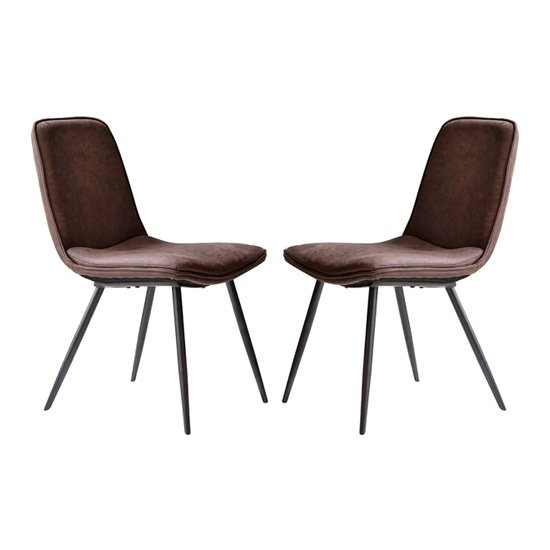Newton Brown Faux Leather Dining Chairs In Pair