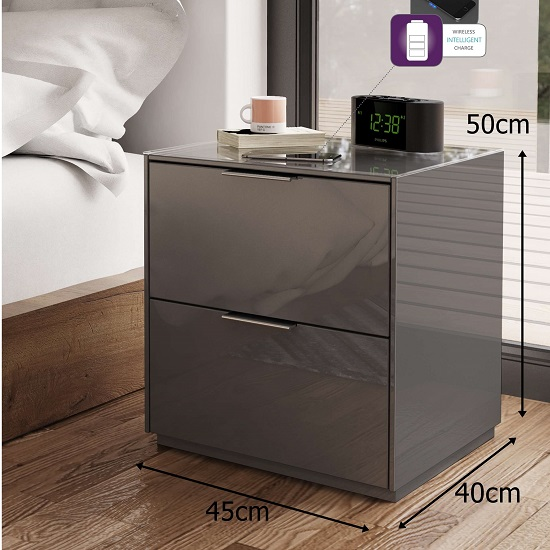 Nexus Bedside Cabinet In Grey High Gloss With Two Drawers_2