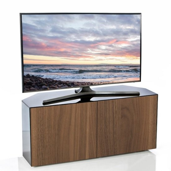 Nexus Corner TV Stand In Black Gloss Walnut And Wireless Chargin