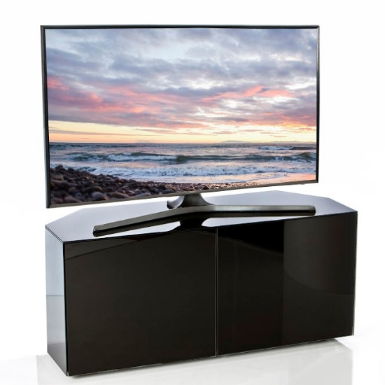 Nexus Corner TV Stand In Black Gloss With Wireless Charging_2