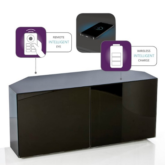 Nexus Corner TV Stand In Black Gloss With Wireless Charging_3