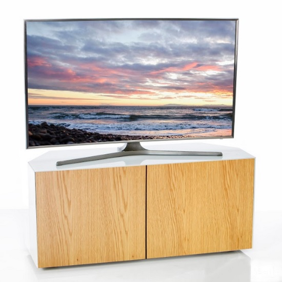 Nexus Corner TV Stand In White Gloss Oak Wireless Charging