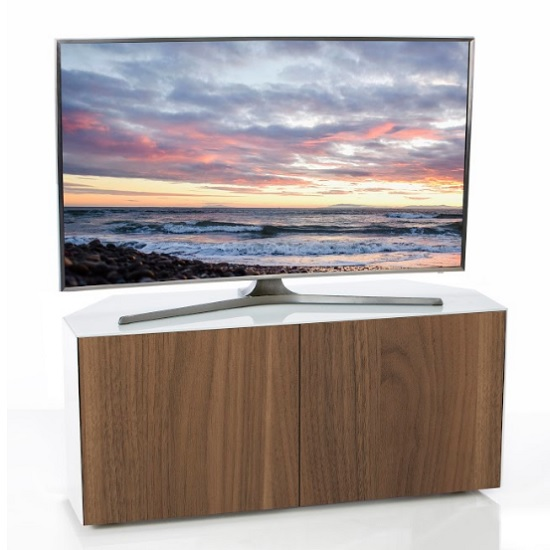 Nexus Corner TV Stand In White Gloss Walnut Wireless Charging