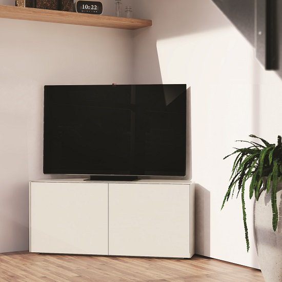 Nexus Corner TV Stand In White Gloss With Wireless Charging