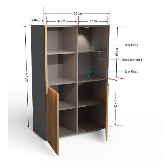 Nexus Display Cabinet In Matt Grey And Walnut With LED_5